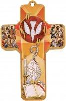 Immagine di 'Bomboniera cresima bambino /bambina:croce legno con cartoncino ricordo - Italiano'