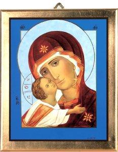 Copertina di 'Icona Madonna col Bambino stampa su Quadro in legno con bordo dorato - 29 x 24 cm'