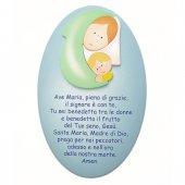"""Quadretto con preghiera """"Ave Maria"""" sfondo azzurro"""