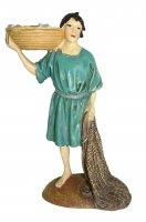 Pescatore con rete e cesta Linea Martino Landi - presepe da 10 cm