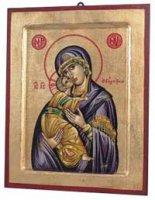 """Icona in legno e foglia oro """"Maria Odigitria dal manto viola"""" - dimensioni 17x14 cm"""