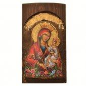Icona in legno con Madonna della purezza in rilievo (h. 17 cm)