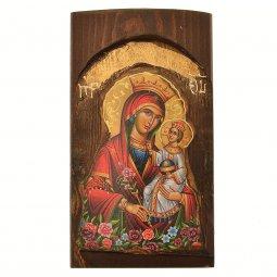 """Copertina di 'Icona in legno """"Madonna della purezza"""" - dimensioni 17x10 cm'"""
