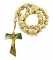 Rosario in legno con croce tau resinata e legatura in seta