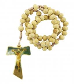 Copertina di 'Rosario in legno con croce tau resinata e legatura in seta'