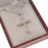 Crocetta a trifoglio con strass e catenina in argento 925