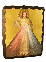 """Quadro in legno da appendere """"Gesù misericordioso"""" - 25 x 20 cm"""