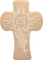 """Croce bombata in polimero con intaglio dei simboli della """"Prima Comunione"""" - altezza 14 cm"""