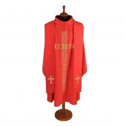 Copertina di 'Casula rossa con motivo floreale a forma di croce gigliata e cristogramma IHS'