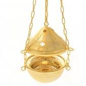 Immagine di 'Turibolo e navicella dorati con decoro a croci - altezza 14 cm'