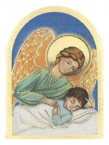 """Copertina di 'Icona a cupola in legno massello e lamina oro """"Angelo di Dio"""" - dimensioni 12x8,5 cm'"""