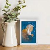 """Immagine di 'Quadretto """"Padre Pio"""" blu con cornice minimal - dimensioni 15x10 cm'"""