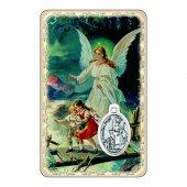 """Card """"Angelo custode"""" con preghiera e medaglia - (10 pezzi)"""