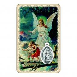 """Copertina di 'Card """"Angelo custode"""" con preghiera e medaglia - (10 pezzi)'"""