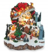 Villaggio natalizio con slitta renna e funivia, movimento, luci, musica (28 x 28,5 x 27 cm)