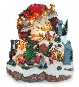 Copertina di 'Villaggio natalizio con slitta renna e funivia, movimento, luci, musica (28 x 28,5 x 27 cm)'