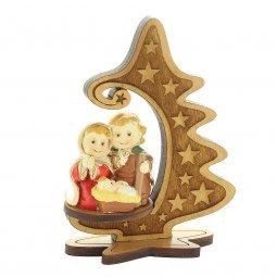 Copertina di 'Presepe in legno d'ulivo con stella cometa e Natività colorata - altezza 10 cm'