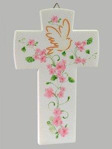 Copertina di 'Croce con colomba effetto pietra - Fiore rosa'