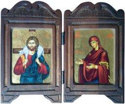"""Copertina di 'Dittico in legno """"Maria e Gesù Buon Pastore"""" - 23 x 23 cm'"""
