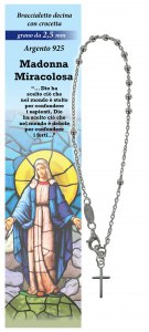 Copertina di 'Bracciale rosario Madonna Miracolosa con 11 grani in argento da 2,5 mm + croce'