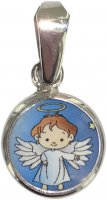 Medaglia tonda porcellana/argento 925 angelo cm 1
