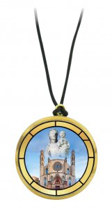 Copertina di 'Ciondolo Basilica di santa Maria del Mar in legno ulivo con immagine serigrafata - 3,5 cm'