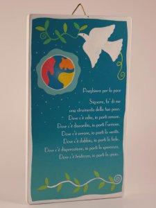 """Copertina di 'Quadretto colorato con """"Preghiera per la pace"""" - dimensioni 15x8,5 cm'"""