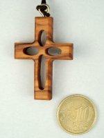 Immagine di 'Croce in legno d'ulivo traforata con laccio - altezza 3,8 cm'