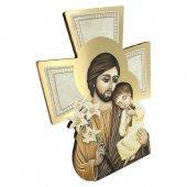 """Immagine di 'Croce sagomata con lamina oro """"San Giuseppe e Bambinello"""" - altezza 14 cm'"""