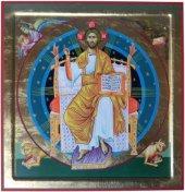"""Icona in legno e dipinta a mano """"Cristo in trono"""" - 29,5 x 30 cm"""