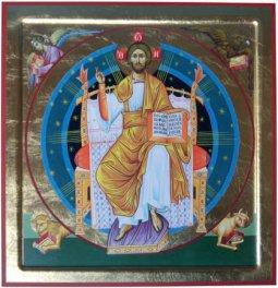 """Copertina di 'Icona in legno e foglia oro """"Cristo in trono"""" - dimensioni 29,5x30 cm'"""