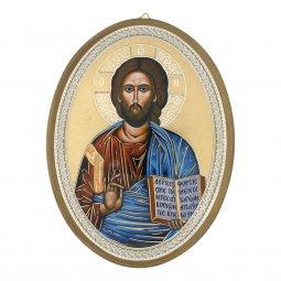 """Copertina di 'Icona ovale laccata oro """"Gesù Pantocratore"""" - dimensioni 21,5x16 cm'"""