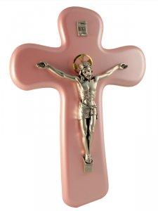 Copertina di 'Croce con Cristo in metallo rosa - altezza 22 cm'