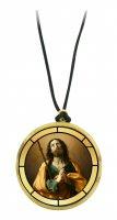 Ciondolo San Giacomo il maggiore in legno ulivo con immagine serigrafata - 3,5 cm