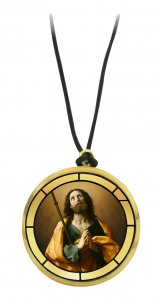 Copertina di 'Ciondolo San Giacomo il maggiore in legno ulivo con immagine serigrafata - 3,5 cm'