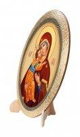 """Immagine di 'Icona ovale in polimero con cavalletto """"Madonna col Bambino"""" - dimensioni 25 x 20 cm'"""
