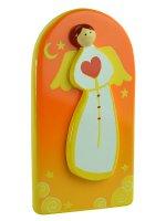 Quadretto angelo con cuore arancio