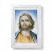 """Quadretto """"Volto di Cristo"""" moderno con passe-partout e cornice minimal - dimensioni 15x10 cm"""