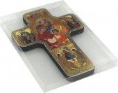 Immagine di 'Croce icona Sacra Famiglia stampa su legno - 12 x 18 cm'