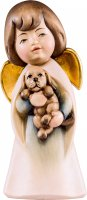 Statuina dell'angioletto con cagnolino, linea da 11 cm, in legno dipinto a mano, collezione Angeli Sognatori - Demetz Deur