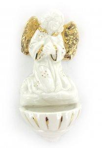 Copertina di 'Acquasantiera angelo pregante in porcellana bianca con oro zecchino cm 13,5'