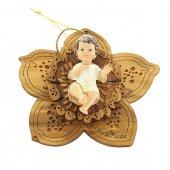 Gesù Bambino su girasole in legno d'ulivo - altezza 16 cm