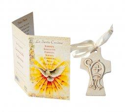 """Copertina di 'Crocetta ad effetto pietra con cartoncino-ricordo """"Santa Cresima"""" - dimensioni 6,5x4 cm'"""