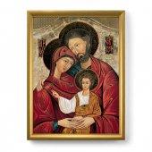 """Quadro """"Sacra Famiglia"""" con lamina oro e cornice dorata - dimensioni 44x34 cm"""