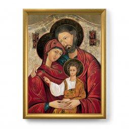 """Copertina di 'Quadro """"Sacra Famiglia"""" con lamina oro e cornice dorata - dimensioni 44x34 cm'"""