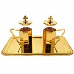 Copertina di 'Servizio ampolline dorate con corazzature ottagonali e vassoio rettangolare in ottone dorato'