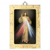 """Icona in legno a sbalzo con cornice dorata """"Gesù Misericordioso"""" - 14 x 10 cm"""