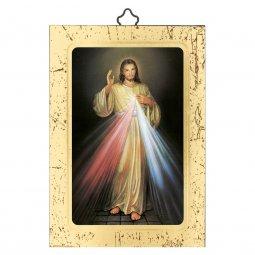 """Copertina di 'Icona a sbalzo con cornice dorata """"Gesù Misericordioso"""" - dimensioni 14x10 cm'"""