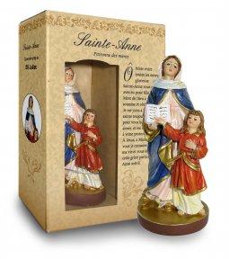 Copertina di 'Statua di Sant'Anna da 12 cm in confezione regalo con segnalibro in versione FRANCESE'
