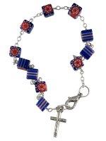 Bracciale rosario con grani vetro blu